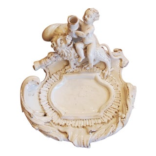 18th Century Continental White Faience Inkstand with a Putto and Lion
