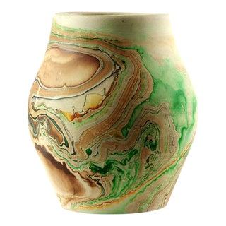 Vintage Nemadji Pottery Green & Brown Swirls Vase
