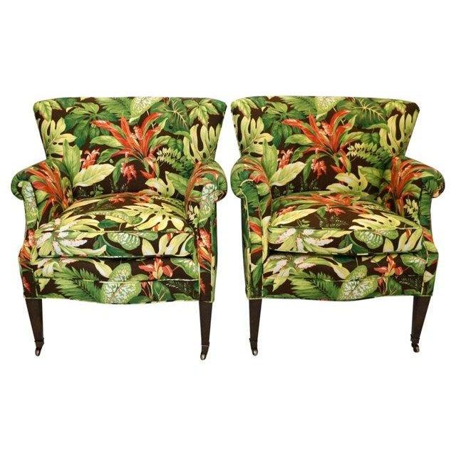 Tropical Barkcloth Chairs - A Pair - Image 2 of 7