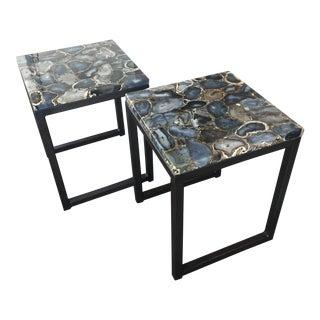 Agate Slab Side Tables - A Pair