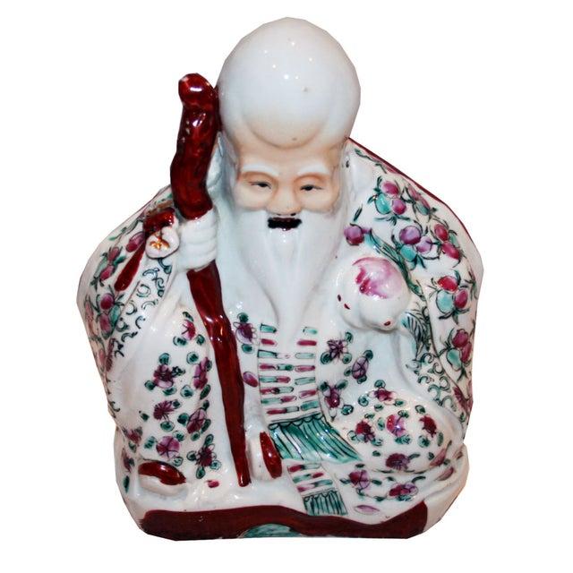Image of Antique Chinese God of Longevity Figurine