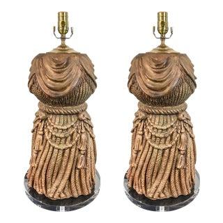 1960s Italian Tassel & Lucite Lamps - A Pair