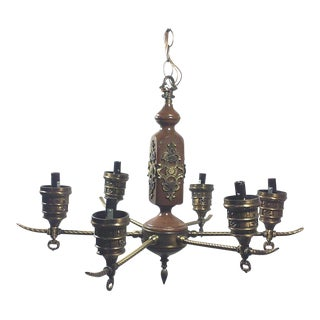 Spanish Colonial Brass & Wood Chandelier