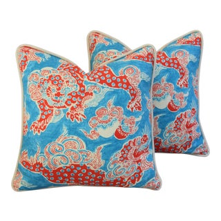 "18"" Square Custom Aqua/Red Chinoiserie Dragon Feather/Down Pillows - Pair"