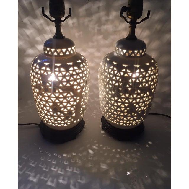 Vintage Pierced Porcelain Ginger Jar Lamps - Image 10 of 10