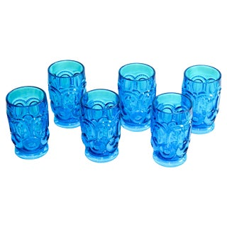 Peacock Blue Thumbprint Water Glasses - Set of 6