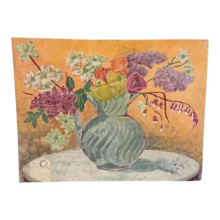 A Vintage Painting of Flowers in a Vase