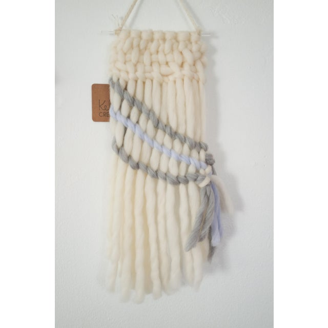 Image of Handwoven Cream, Gray & Pale Blue Wall Hanging