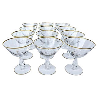 Mid-Century Crystal Champagne Glasses - S/12