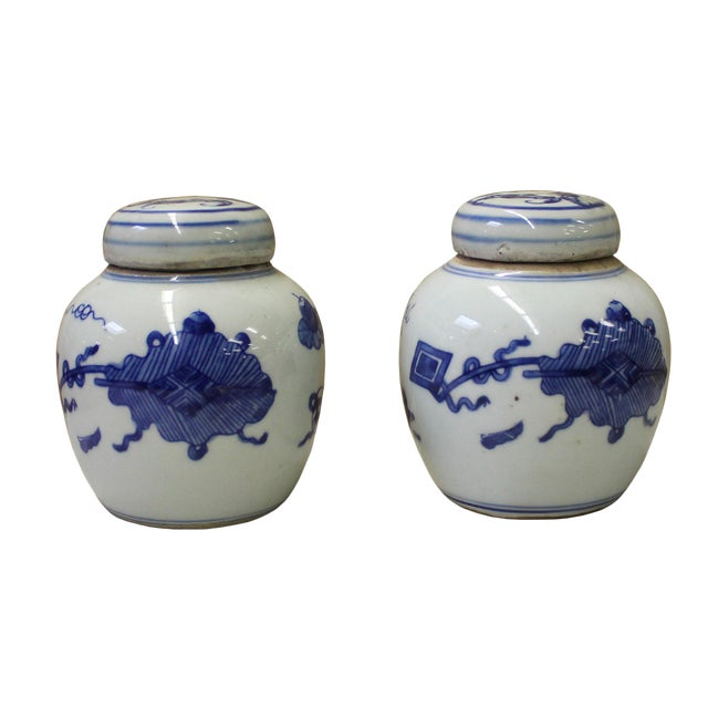 Pair Blue White Small Oriental Graphic Porcelain Ginger Jars - Image 1 of 6