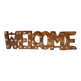 Vintage Brass & Wood Welcome Sign Wall Decor