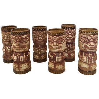 Vintage Orchids of Hawaii Tiki Glasses - Set of 6