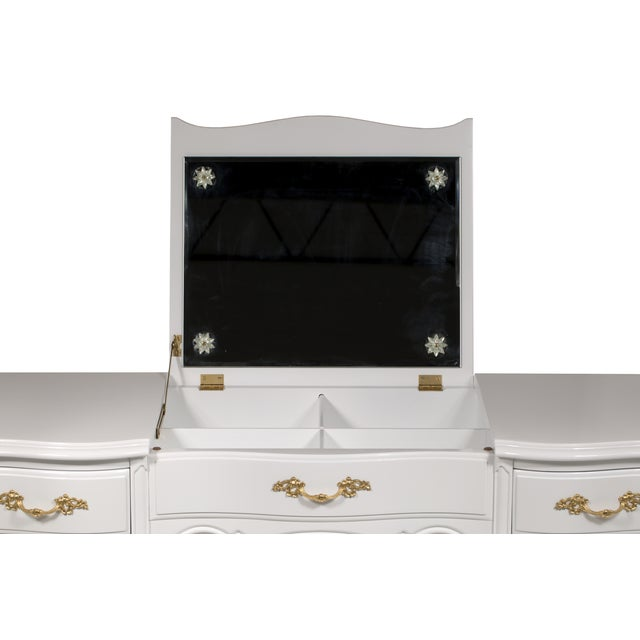 Vintage French-Style White Vanity Desk with Mirror - Image 7 of 7