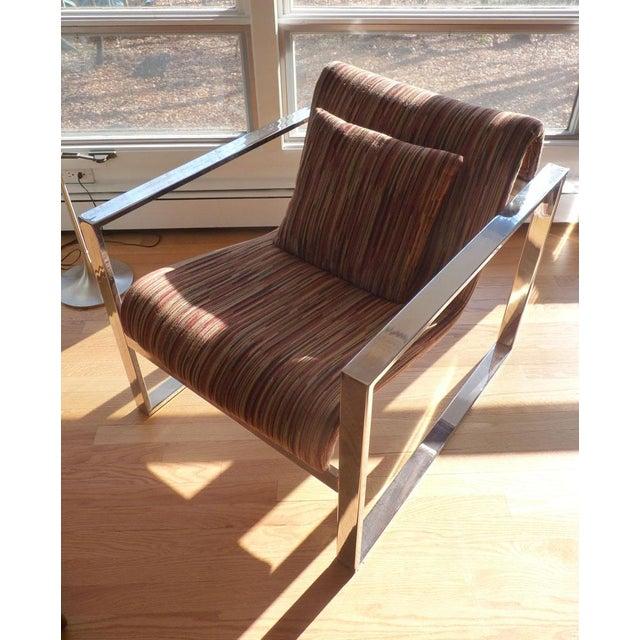 Milo Baughman MCM Chrome Lounge Chair - Image 2 of 9