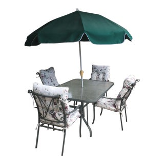 Outdoor 5 Piece Dining Set & Umbrella