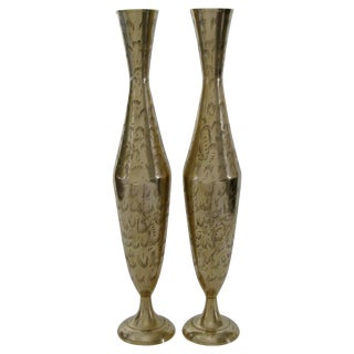 Engraved Indian Brass Vases - A Pair