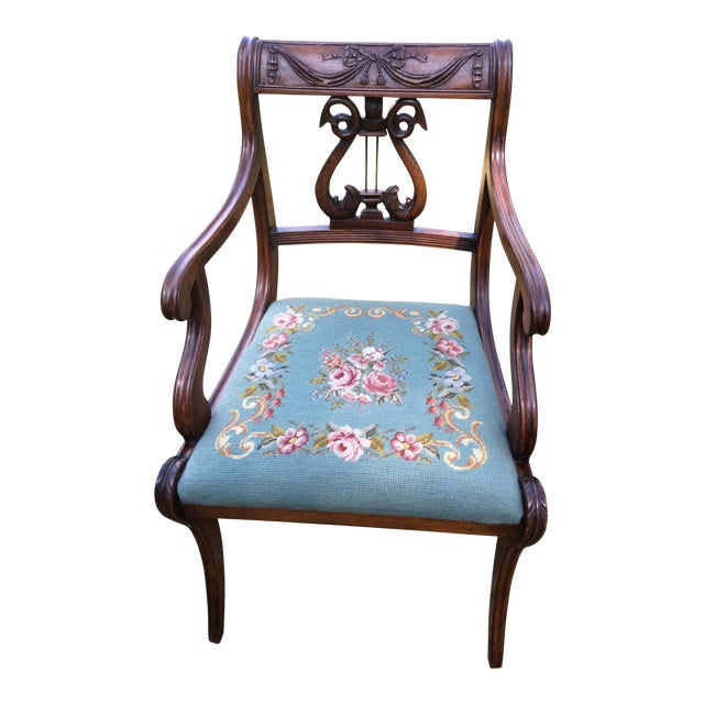 Regency Floral Needlepoint Harp Arm Chair - Image 1 of 7