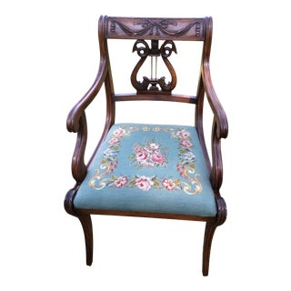 Regency Floral Needlepoint Harp Arm Chair