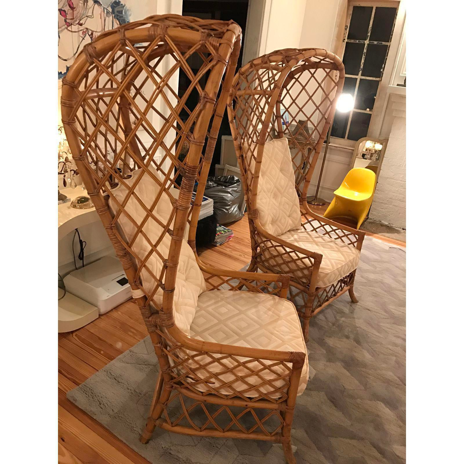 Nice Mid Century Rattan Canopy Chairs   A Pair   Image 4 Of 5