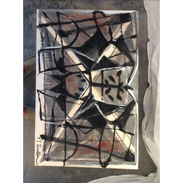 Mid-Century Modern Style Abstract Painting - Image 2 of 5