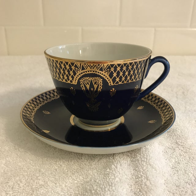 Vintage Russian Lomonosov Cobalt Blue & Gold Tea Cup - Image 10 of 10