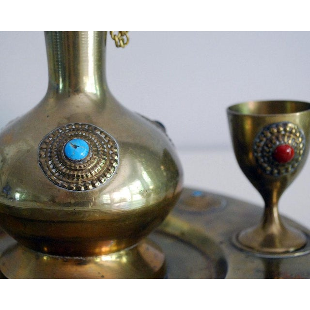 Middle Eastern Brass Drink Set - Set of 6 - Image 6 of 6