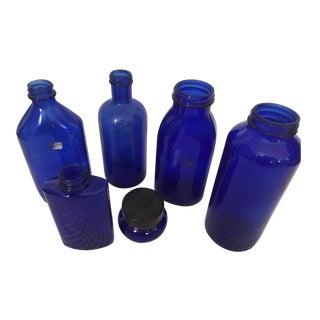 Vintage Cobalt Blue Glass Bottles - Set of 6
