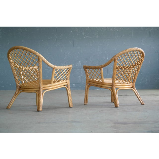 Mid Century Modern Danish Rattan Armchairs - a Pair - Image 4 of 11