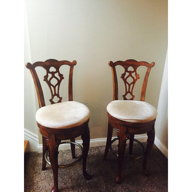 Traditional Wooden Swivel Bar Stools - A Pair - Image 2 of 6