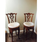 Image of Traditional Wooden Swivel Bar Stools - A Pair