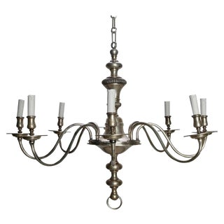 French Silver Metal Chandelier