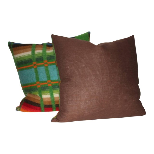 Pair of 19th Century Wool Horse Blanket Pillows - Image 1 of 4