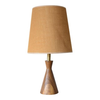 Danish Modern Turned Wood Cone Table Lamp