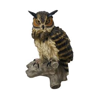 Vintage Pottery Owl Statue