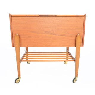 Danish Modern Teak Sewing Box With Exposed Legs