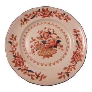 Vintage Rust & Blue Flowers in Basket Plate