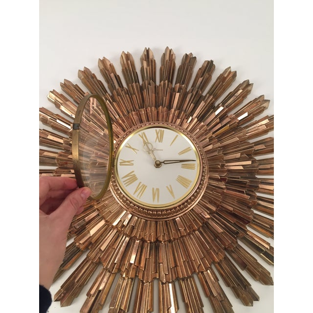 Mid-Century Syroco Sunburst Wall Clock - Image 7 of 11