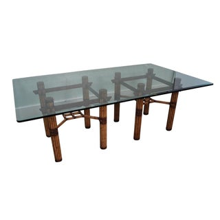 McGuire Rattan Glass Top Dining Table