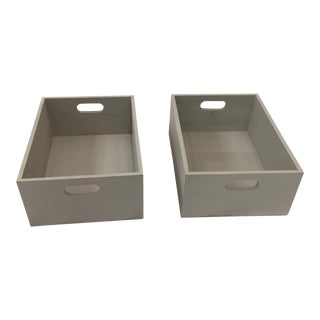 Light Gray Wooden Boxes - A Pair