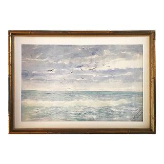 """""""Surf Near Shore"""" Antique Watercolor Seascape by Schouler"""