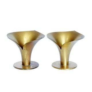 Scandinavian Modern Brass Candlesticks - A Pair
