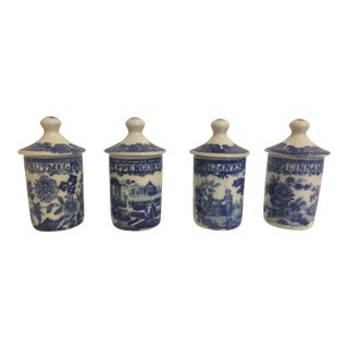 Vintage Spode Blue & White Italian Spice Jars - Set of 4