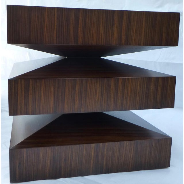 Image of Danish Modern Cubist Stacked Rosewood End Tables- A Pair