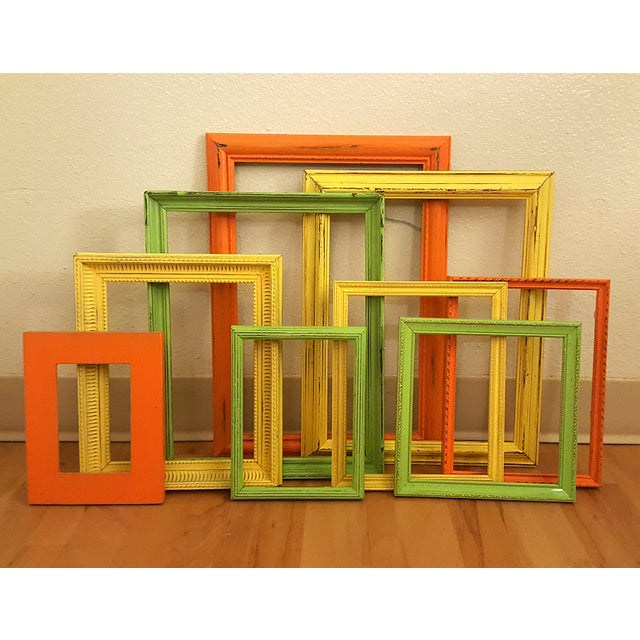Distressed Picture Frames in Citrus - Set of 9 - Image 2 of 3