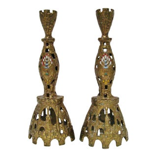 Cast Brass Candlesticks - A Pair