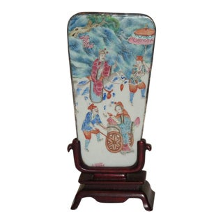 Antique Chinese Famille Rose Shard With Fitted Stand