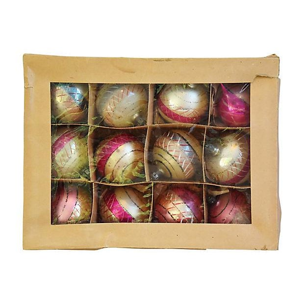 Pastel Pink 1960s Christmas Ornaments w/Box - Set of 12 - Image 6 of 7