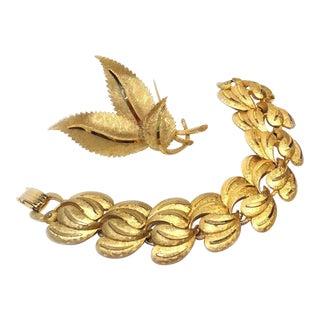 B.S.K. Leafy Goldtone Brooch & Bracelet