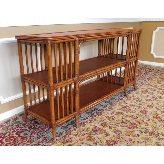 Ethan Allen Rattan Media Console Sofa Table - Image 8 of 9