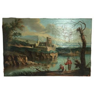 19th Century Fishing in France Oil Painting